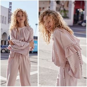 Free People Pink Heartbeat Hoodie Cropped NWT